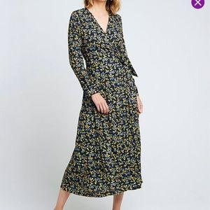 Caara Long Sleeve Floral Wrap Dress